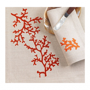orange coral on natural linen
