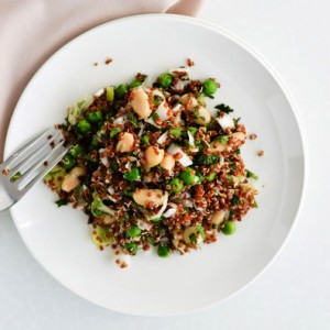 red quinoa with peas and beans salad