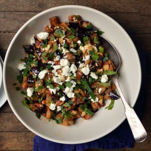Roasted Eggplant Salad with Almonds & Goat Cheese