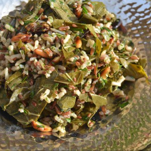 wild rice grape leaf salad